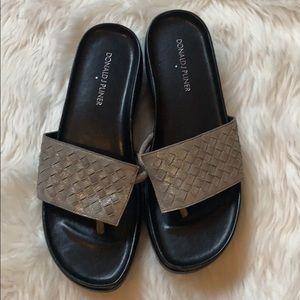 Donald J Pliner Fifi gunmetal gray slide sandals